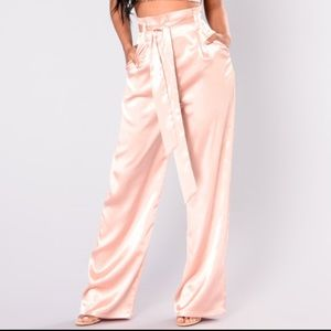 Blush satin wide leg pants